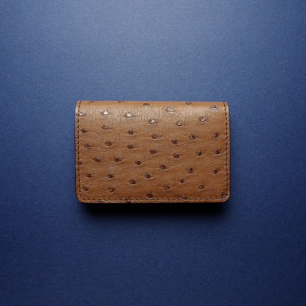 Brown Ostrich Card Wallet