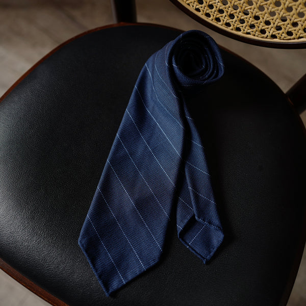 Navy Hopsack Wool Tie with wide stripes