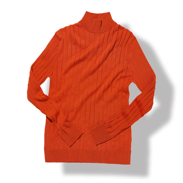 Mock Neck Sweater in Orange