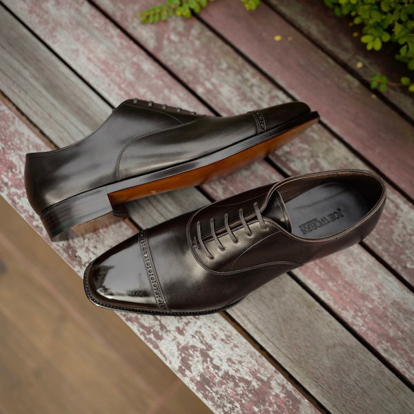 Punched Cap Toe Oxford in Dark Brown French Calf