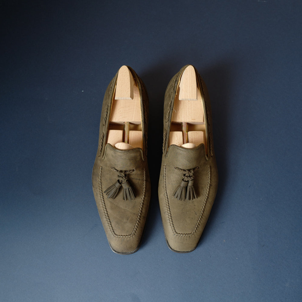 Braided Tassel Loafers in Green Loden Suede