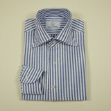 Blue Seersucker Shirt with hidden Classic Button-down Collar