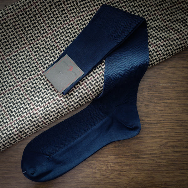 Navy Cotton over-the-calf Socks with Herringbone Pattern