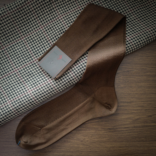 Brown Cotton over-the-calf Socks with Herringbone Pattern