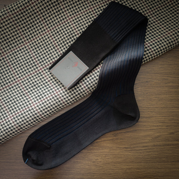 Dark Brown Cotton over-the-calf Ribbed Socks with Navy Contrasting Stripes