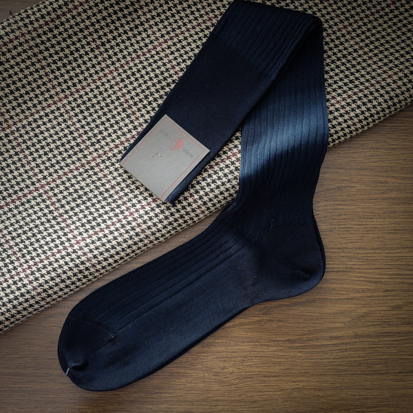 Blue Cotton over-the-calf Ribbed Socks with Contrasting Stripes