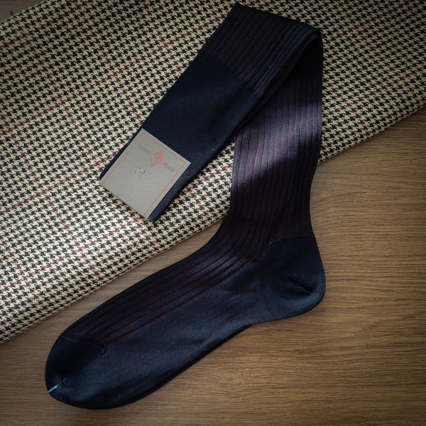 Navy Cotton over-the-calf Ribbed Socks with Burgundy Contrasting Stripes