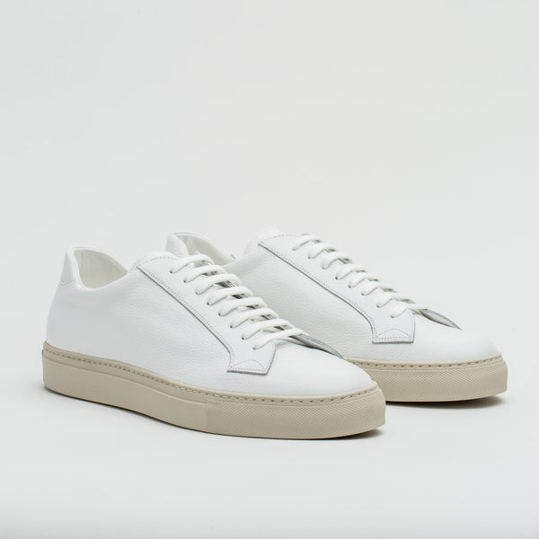 055 Bianco Grain Calf Leather Sneakers