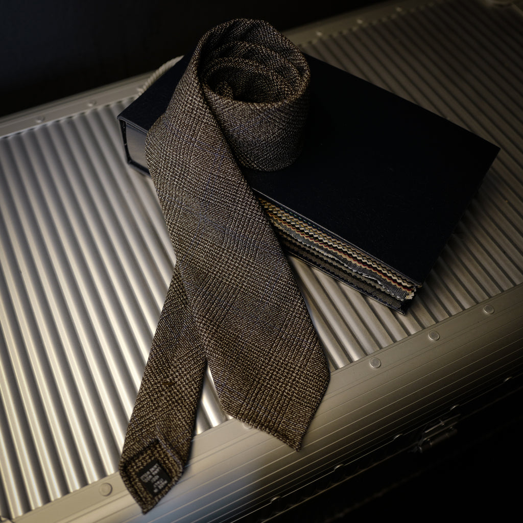 Brown Wool Tie with Woven Check Design