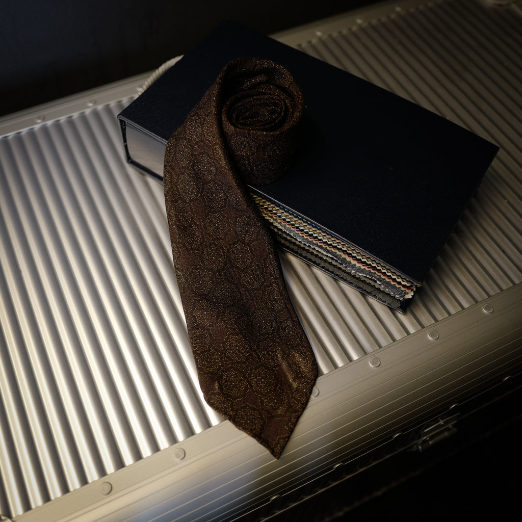 Rusty Brown Seven-Fold Wool/Silk Tie with Floral Design
