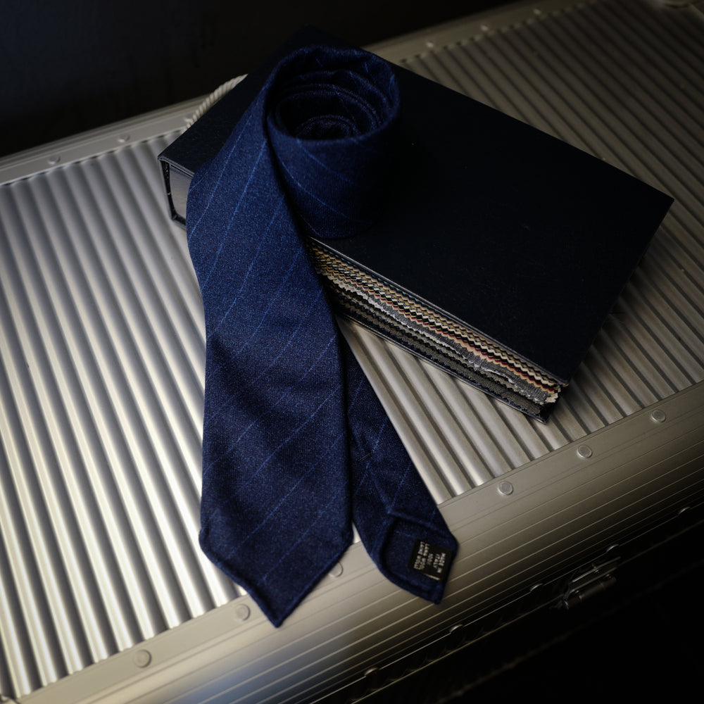 Navy Wool Tie with Blue Pin Stripes