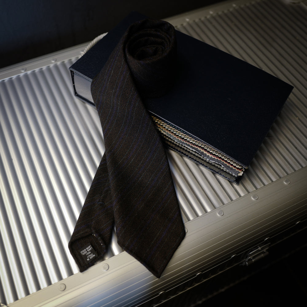 Brown Wool Tie with Blue and Green Stripes