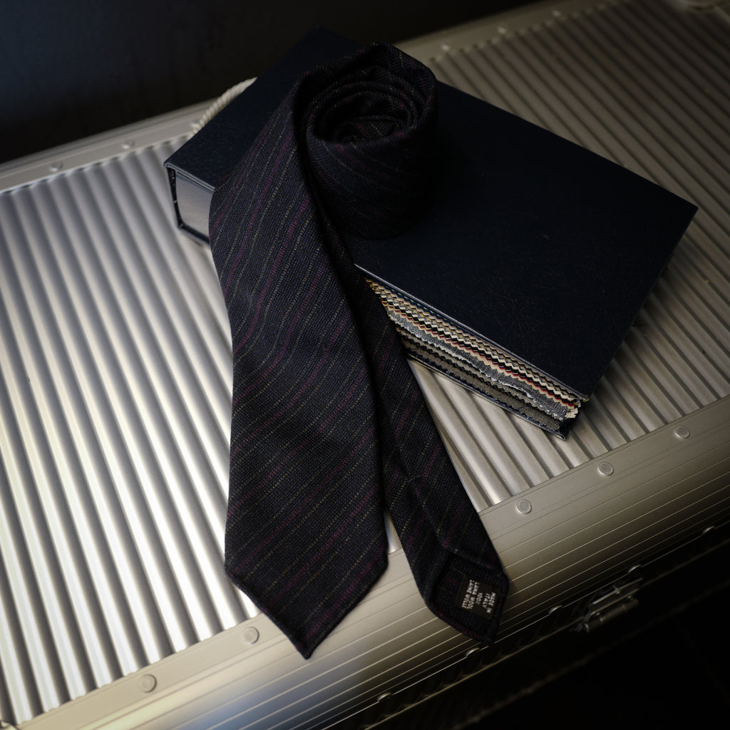 Navy Wool Tie with Red and Brown Stripes