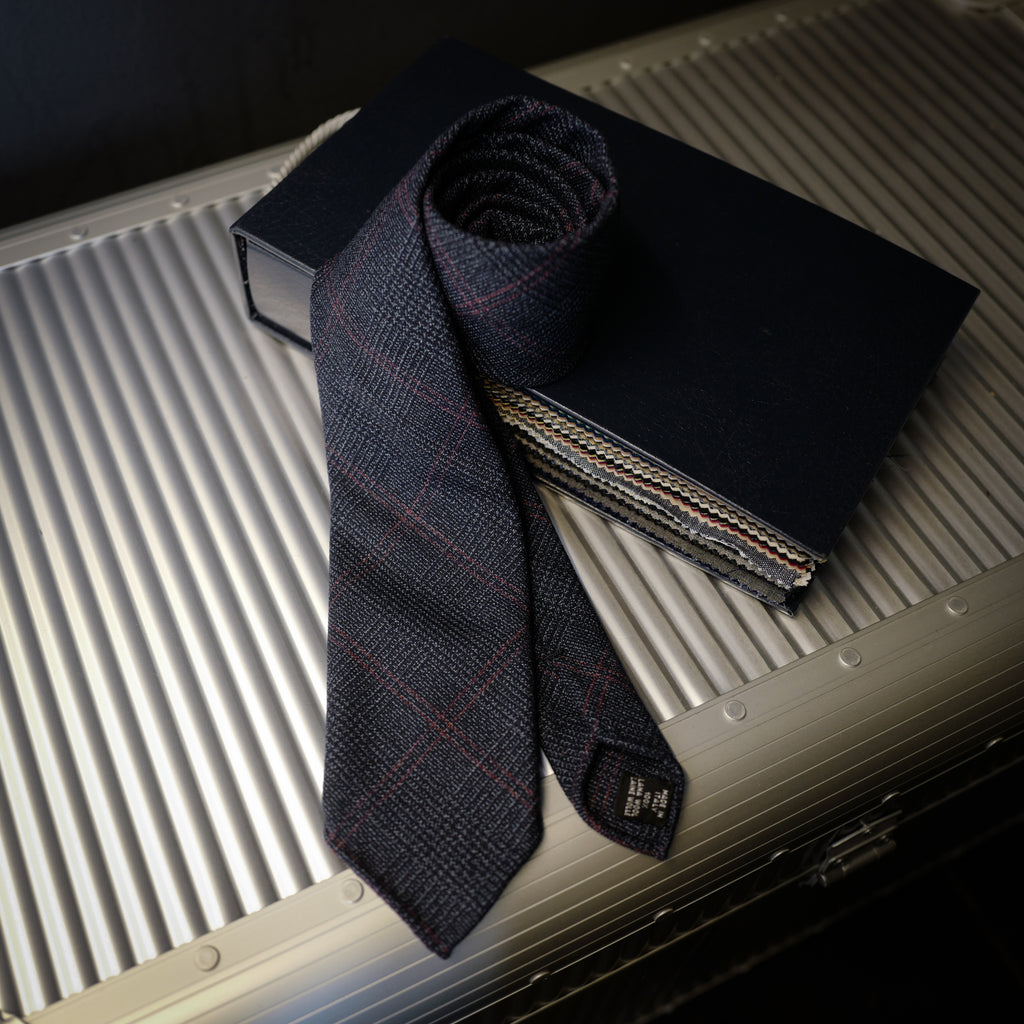 Navy Wool Tie with Woven Check Design