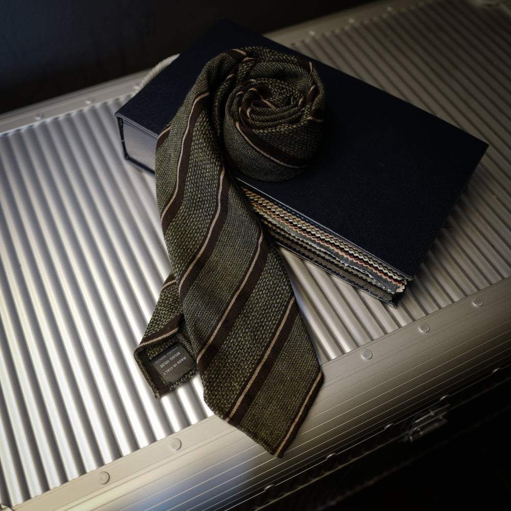 Brown and Grey Seven-Fold Wool/Silk Tie with Multi Stripes