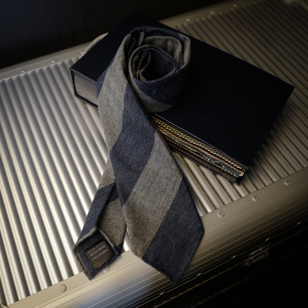 Blue Block Stripes Seven-Fold Wool/Silk Tie
