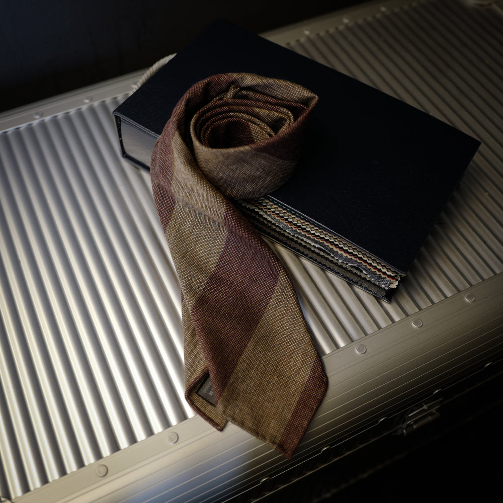 Rusty Brown Block Stripes Seven-Fold Wool/Silk Tie