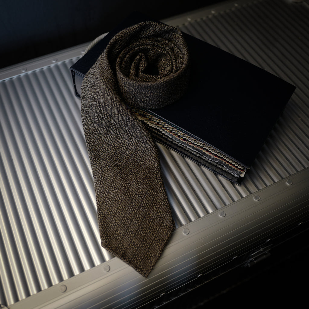 Brown Seven-Fold Wool/Silk Tie with Woven Design