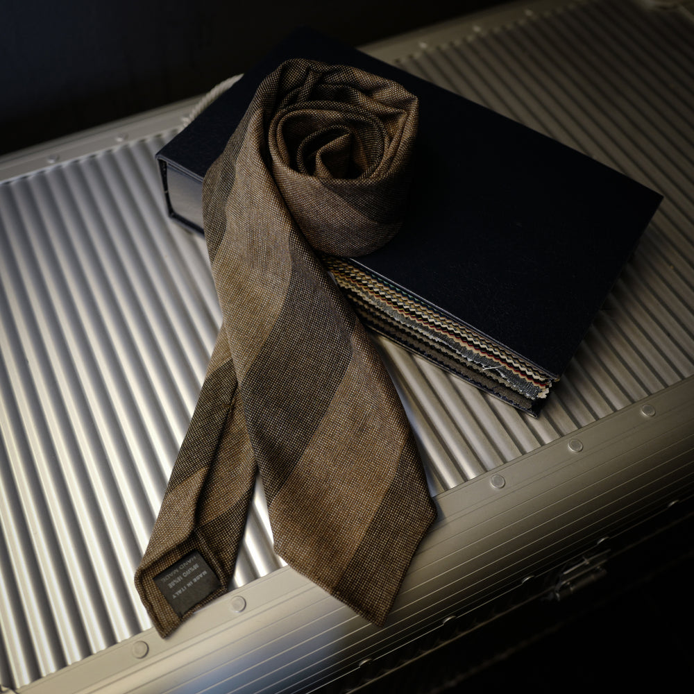 Brown Block Stripes Seven-Fold Wool/Silk Tie
