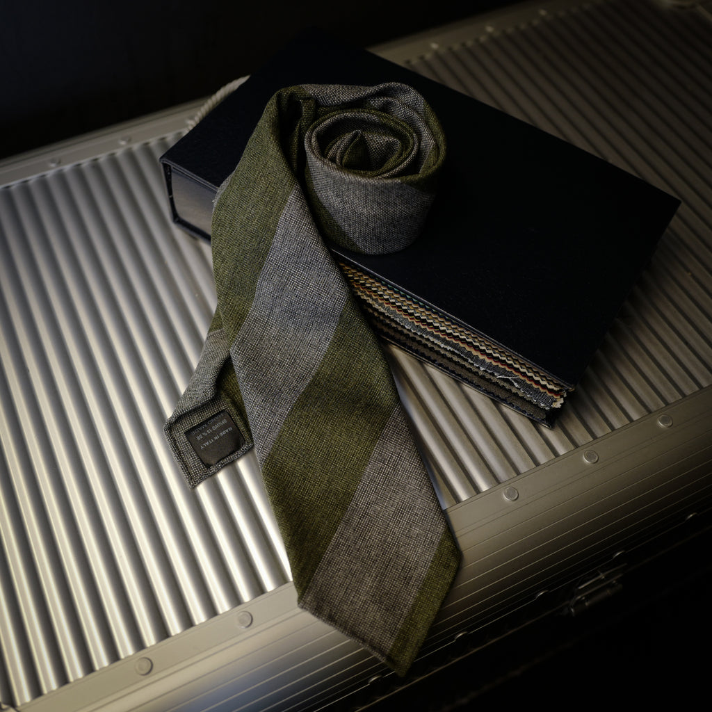 Green Block Stripes Seven-Fold Wool/Silk Tie