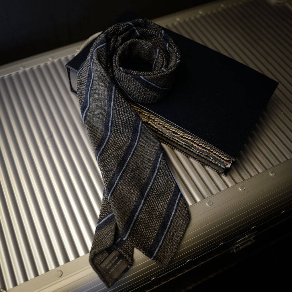 Navy and Grey Seven-Fold Wool/Silk Tie with Multi Stripes
