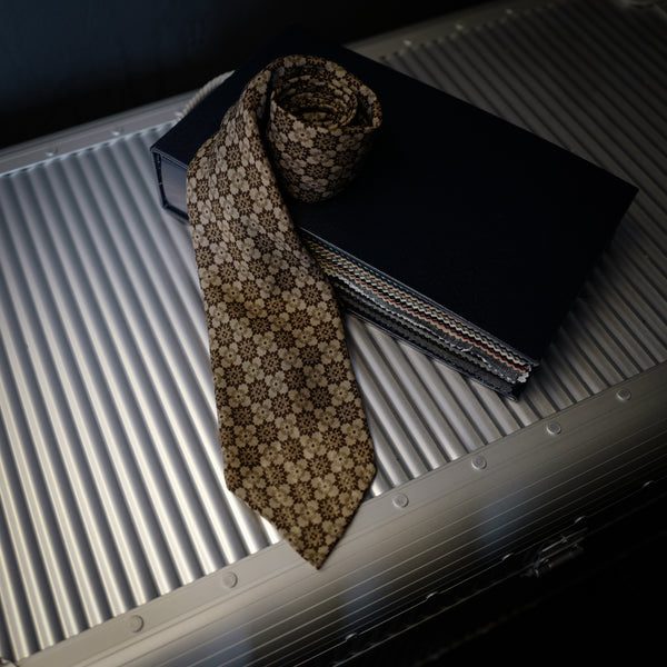 Brown Seven-Fold Wool/Silk Tie with Floral Print