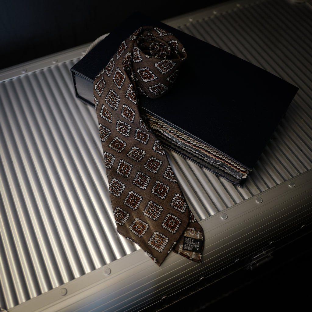 Taupe Seven-Fold Wool/Silk Tie with Medallion Print