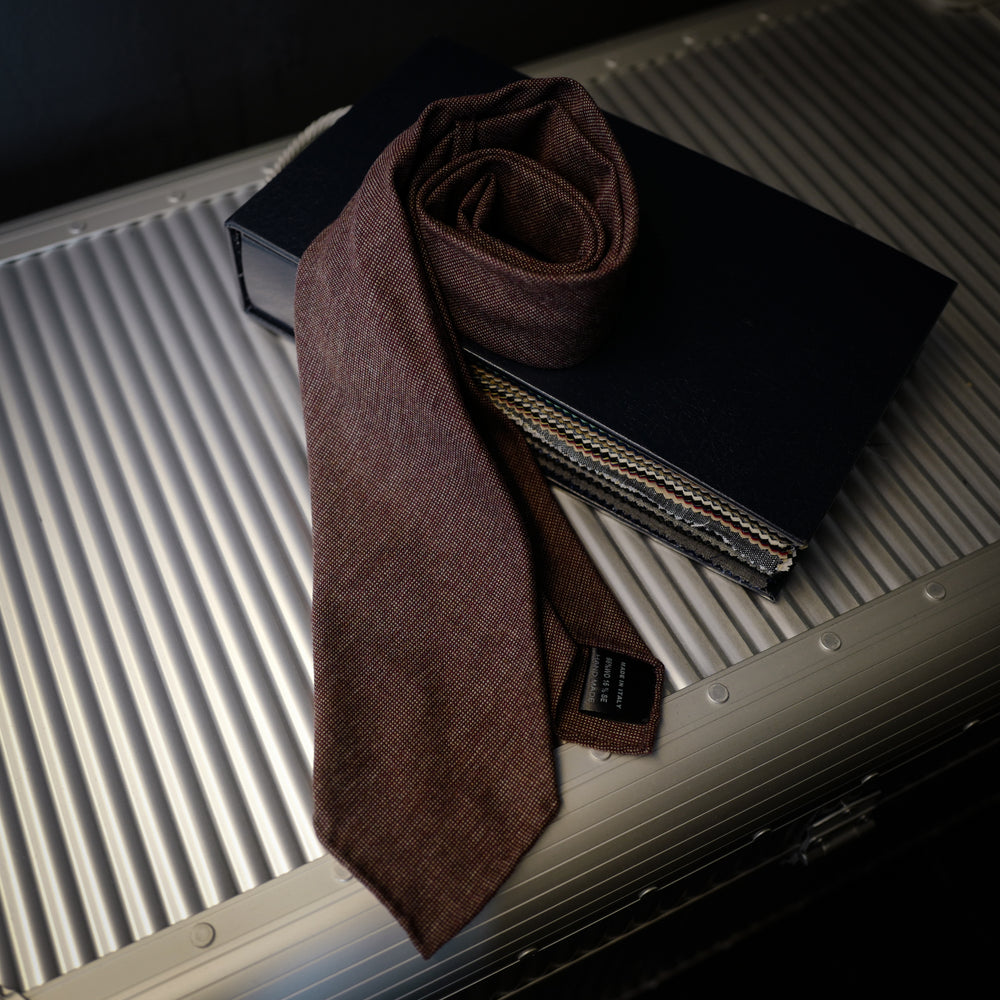 Rusty Brown Textured Seven-Fold Wool/Silk Tie