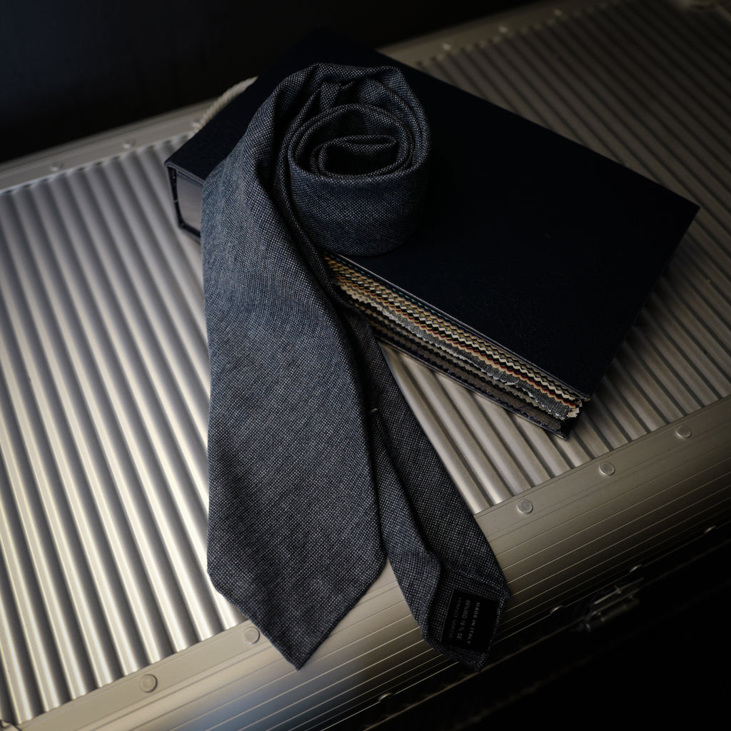 Navy Textured Seven-Fold Wool/Silk Tie