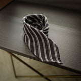 Brown Seven-Fold Linen Tie with Multi Stripes