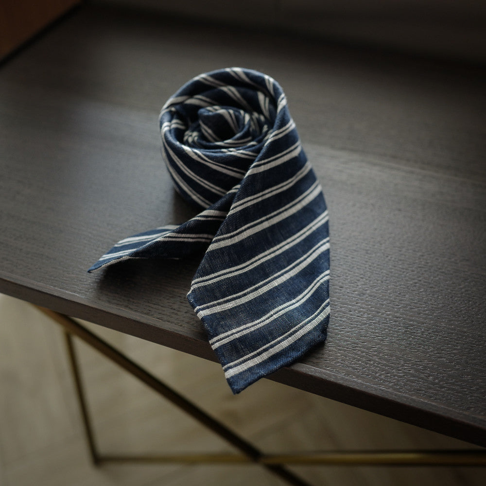 Navy Seven-Fold Linen Tie with Multi Stripes