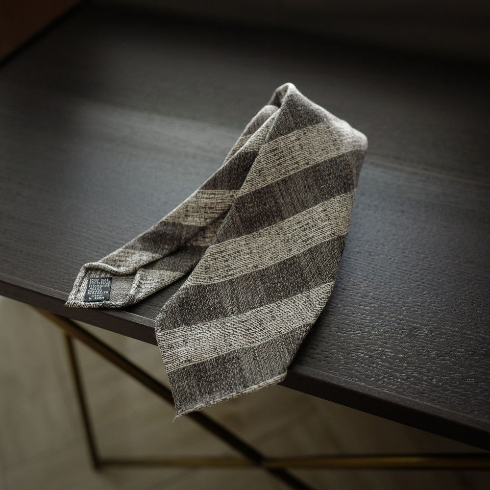 Brown Seven-Fold Silk/Cotton Tie in Block Stripes