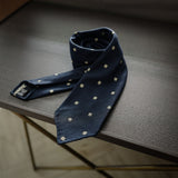Navy Seven-Fold Woven Silk Tie with Diamond Motif