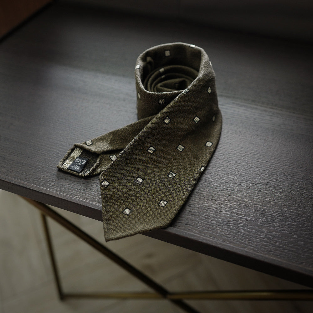 Olive Green Seven-Fold Woven Silk Tie with Diamond Motif