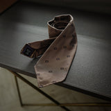 Brown Seven-Fold Silk Tie with Woven Diamond Motif