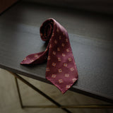 Burgundy Seven-Fold Repp Silk Tie with Diamond Print