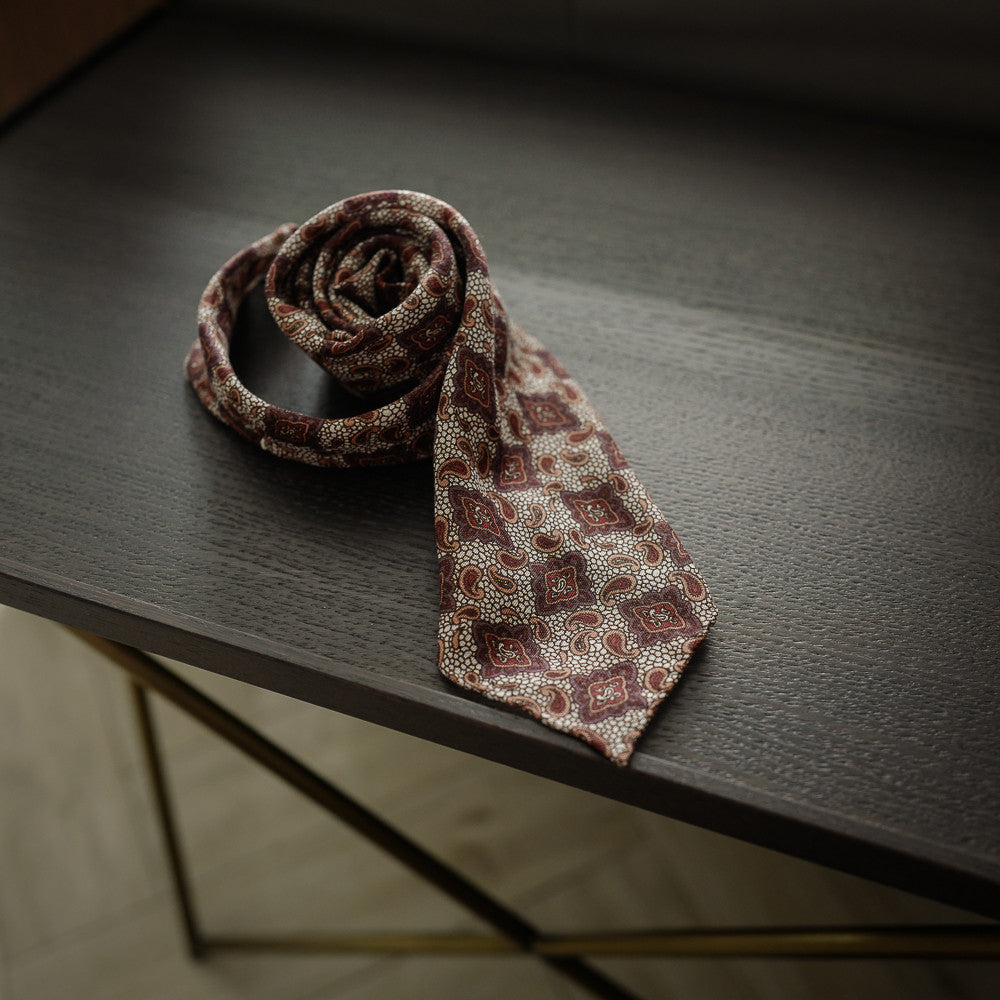 Brown Seven-Fold Wool/Silk Tie with Paisley Print