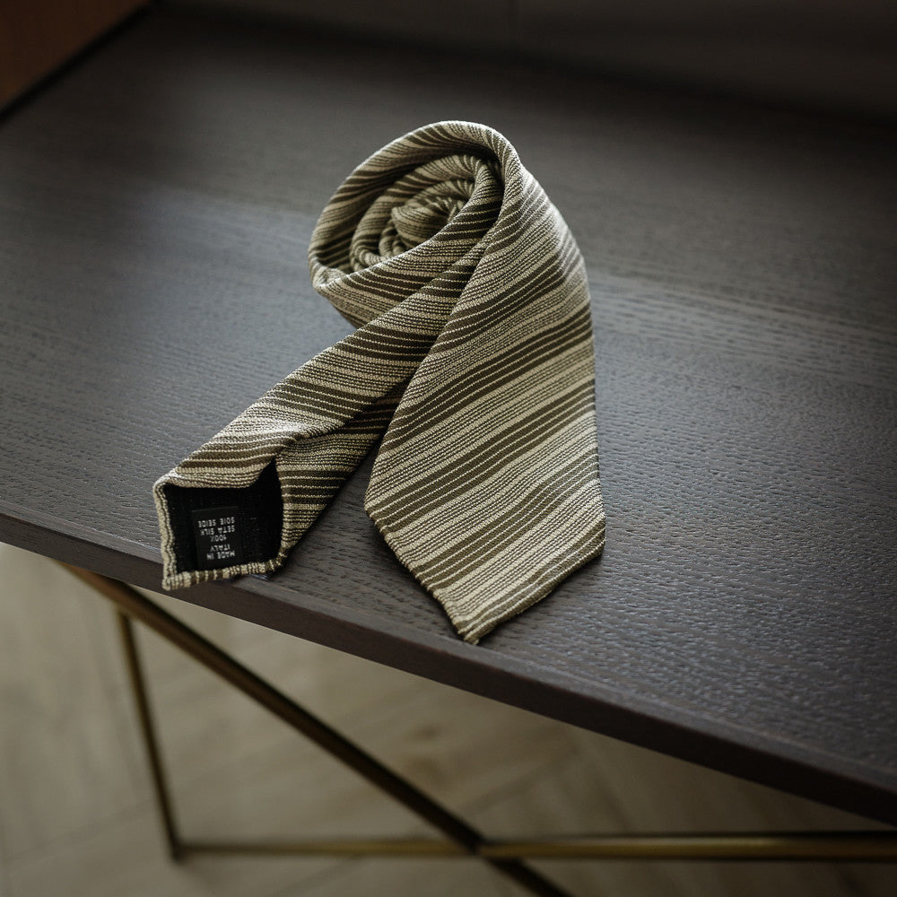 Khaki Seven-Fold Silk Tie with Multi Stripes