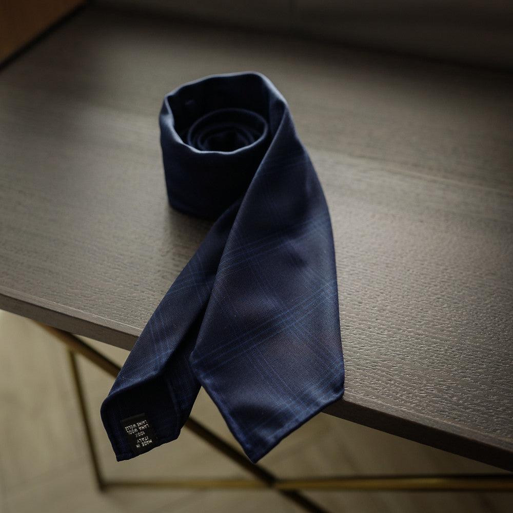 Navy Seven-Fold Wool Tie with Check Design