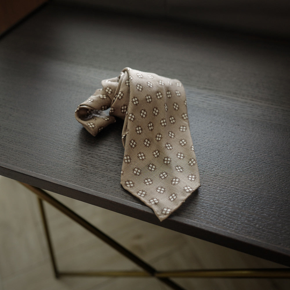 Beige Seven-Fold Wool/Silk Tie with Diamond Print