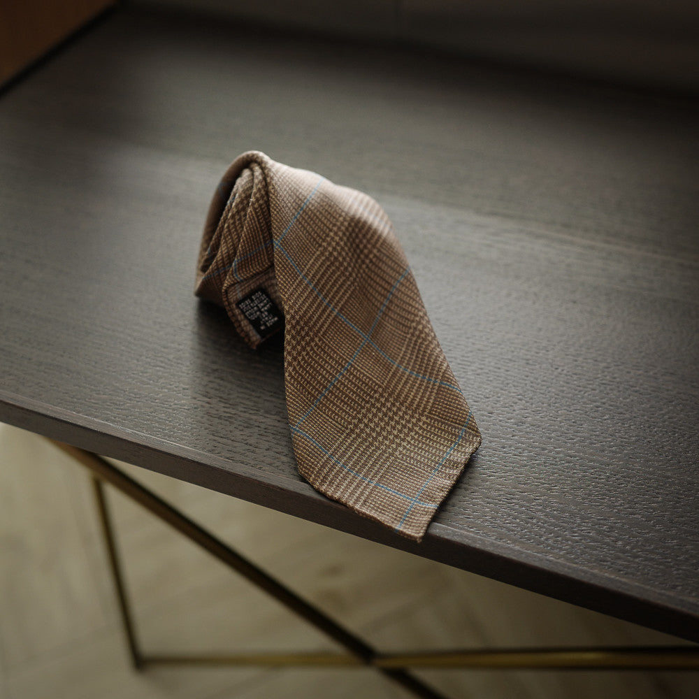 Brown Seven-Fold Wool/Silk Tie with Over Check Print