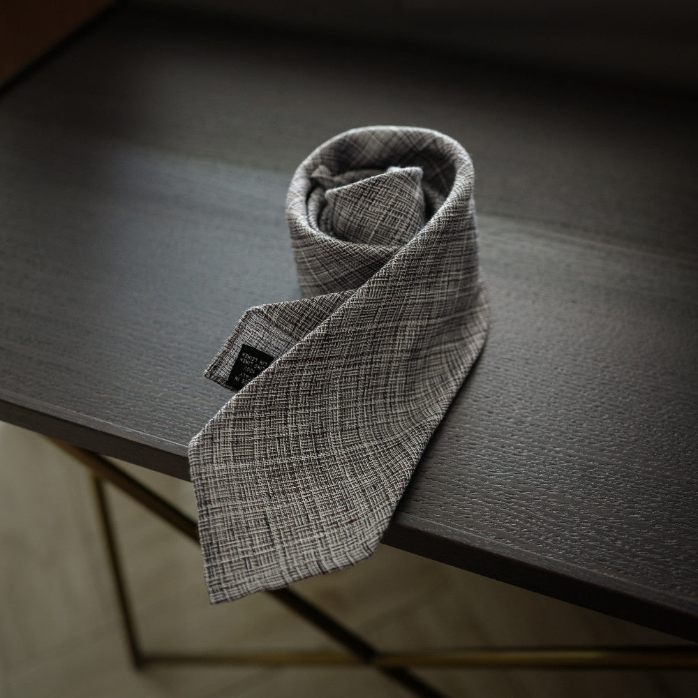 Brown Seven-Fold Linen Tie with Textured Weave