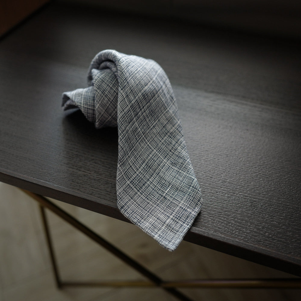 Blue Seven-Fold Linen Tie with Textured Weave