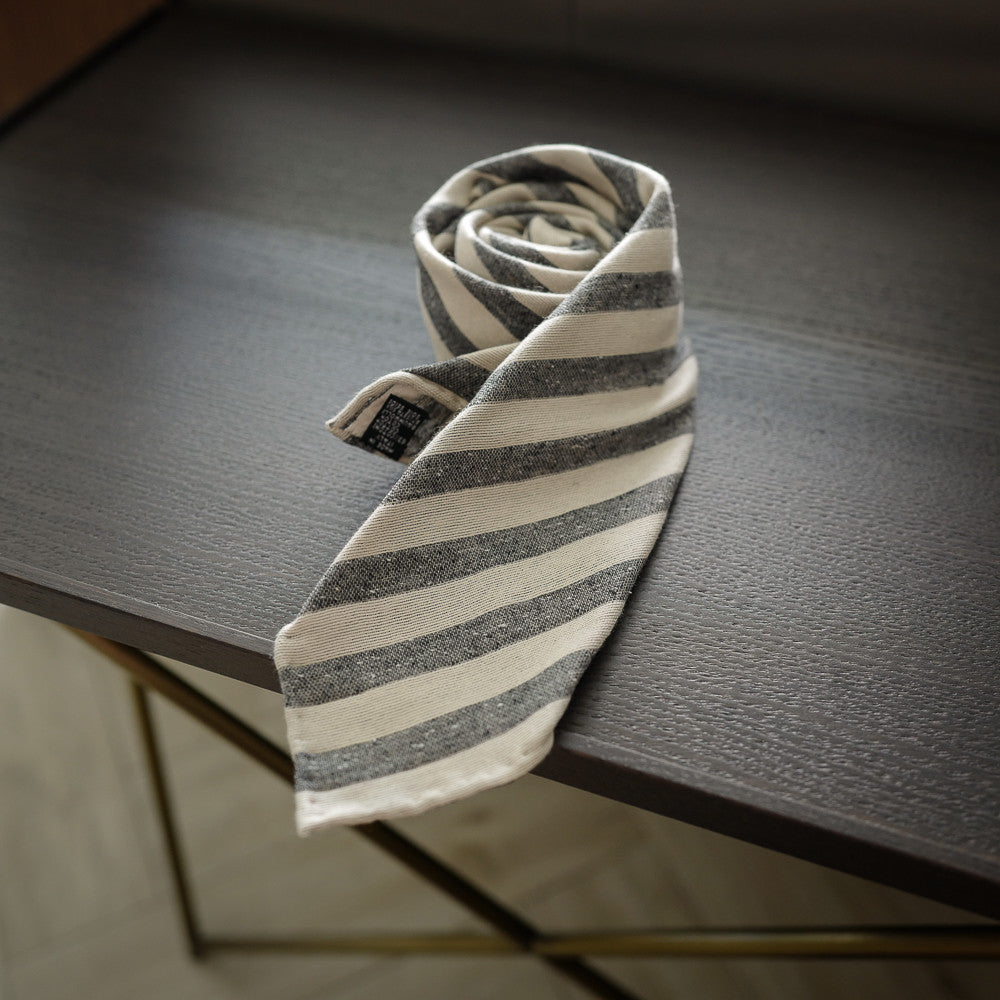 Grey Seven-Fold Woven Regimental Cotton/Silk Tie