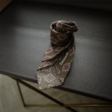 Brown Seven-Fold Wool/Silk Tie with Tile Print