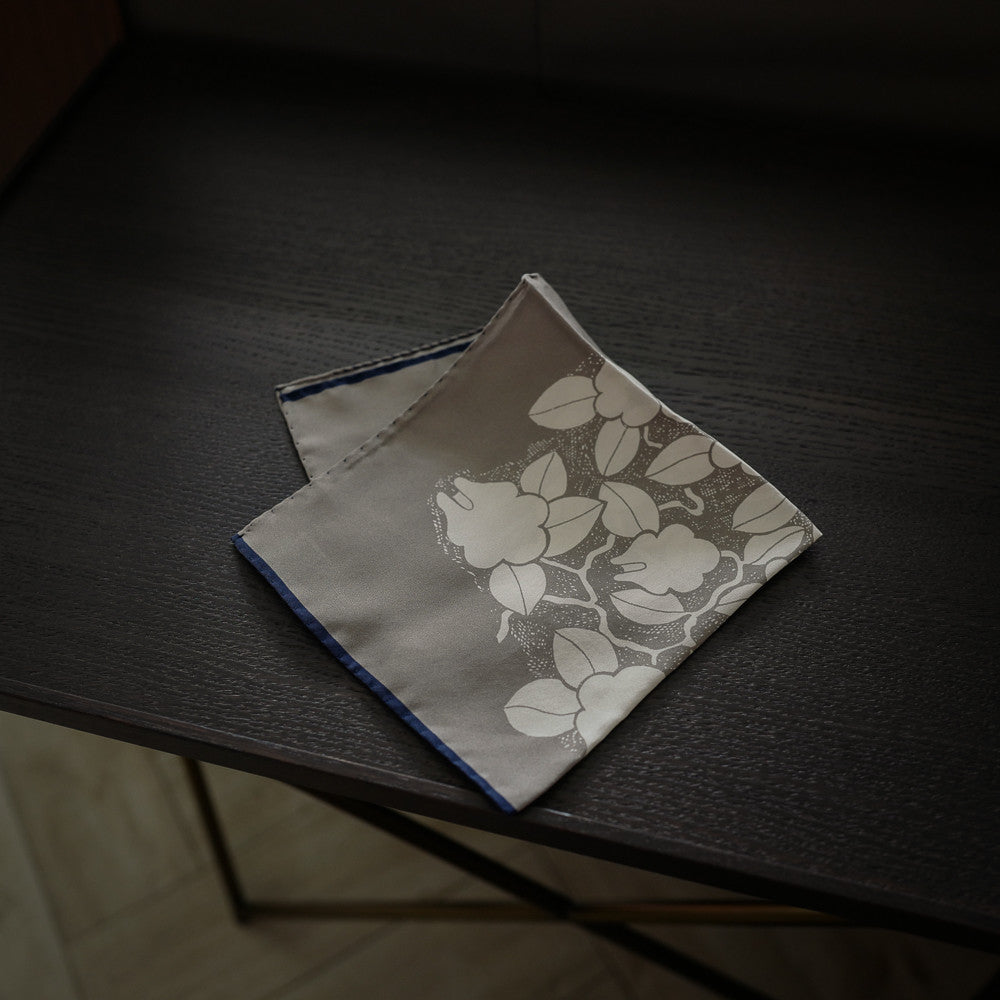 Grey Pocket Square with Floral Design