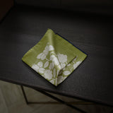 Lime Green Pocket Square with Floral Design