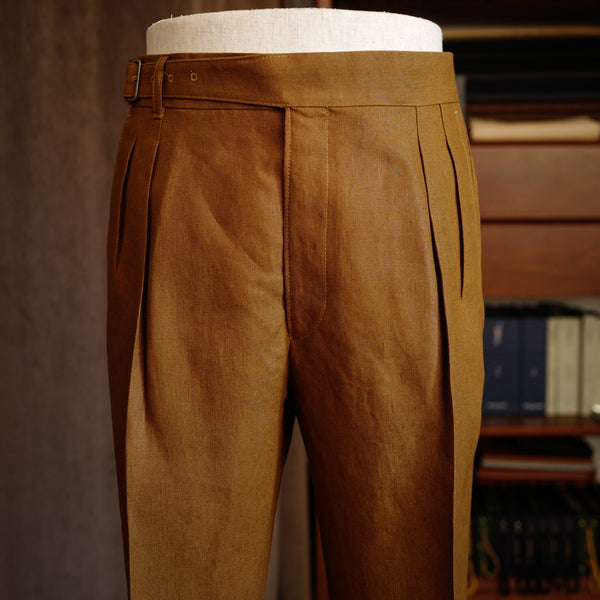 Tobacco Brown Linen Gurkha Trousers