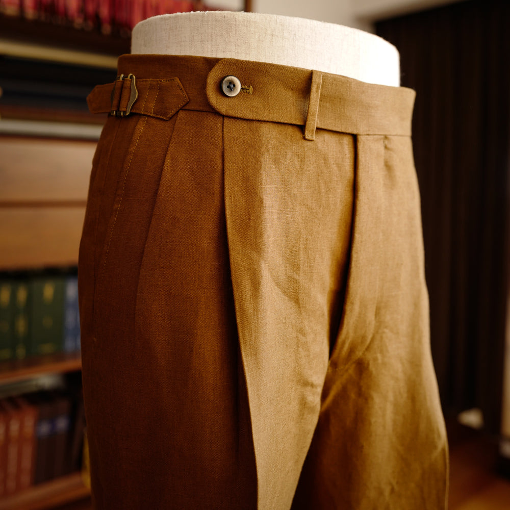 Tobacco Brown Linen Trousers (New Classic)