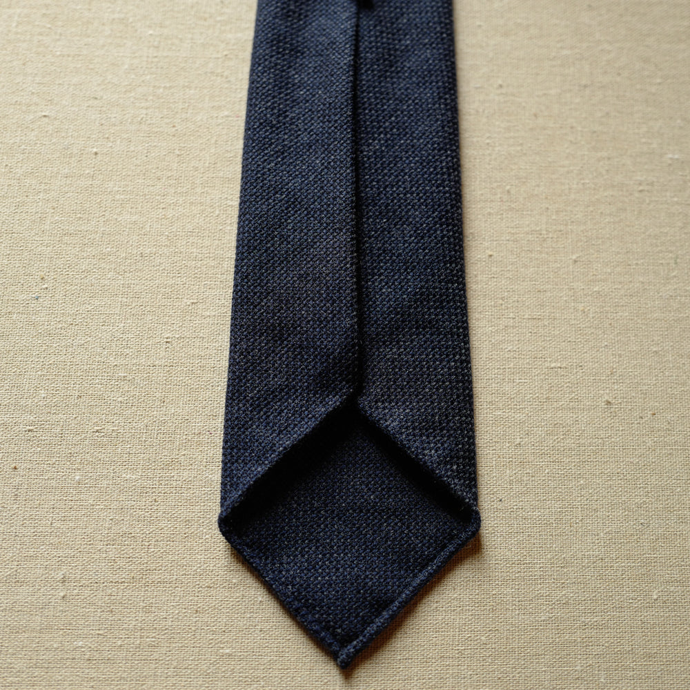 Denim Blue Wool Tie in Basketweave